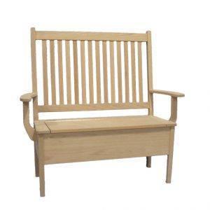 Slat Back Solid Wood Storage Bench-handcrafted-01