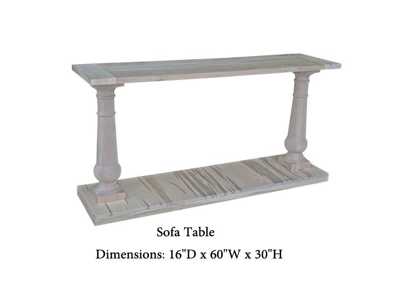 Balustrade sofa table-solid wood