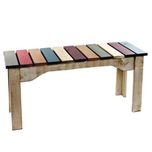 Rainbow Handcrafted Solid Wood Bench-01