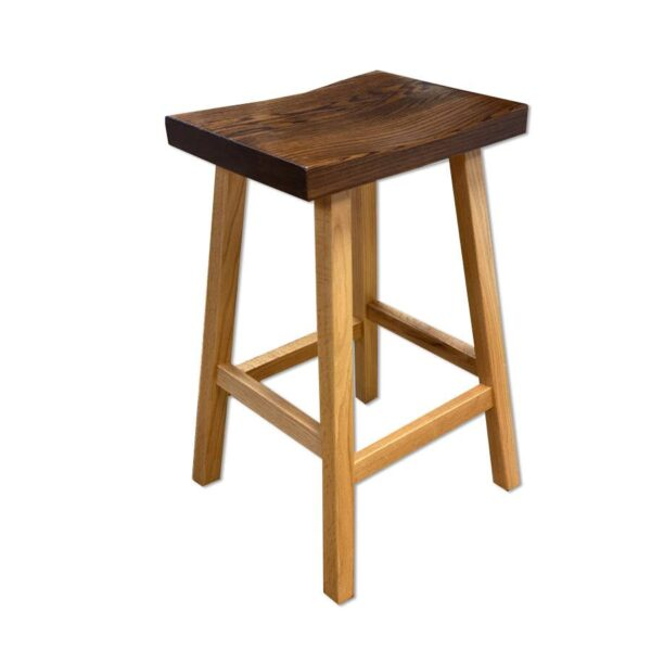 Saddle bar Stool-solid wood - handcrafted-01