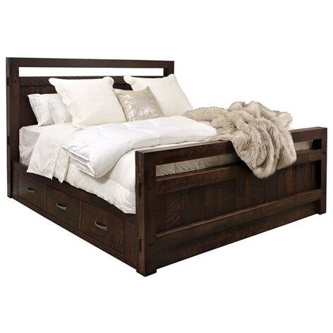 solid wood-Timber Storage Bed