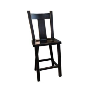 Wide Slat Back Bar Stool -solid wood-handcrafted
