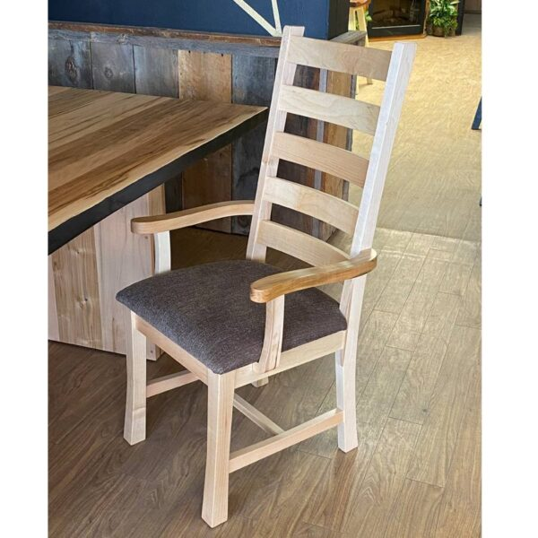 ladder back solid wood arm chair