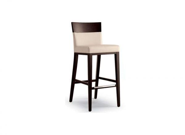 Logic Upholstery Stool - leather- solid wood