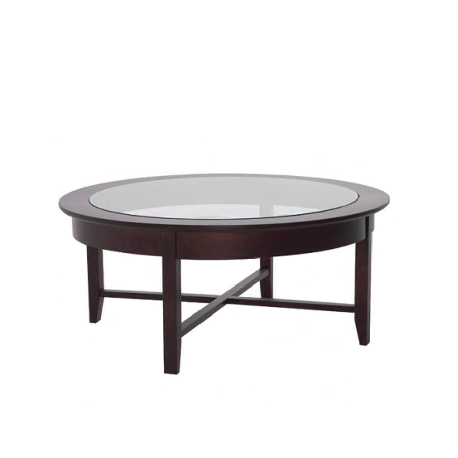 Solid Wood Demilune Elliptical Round Coffee Table-01