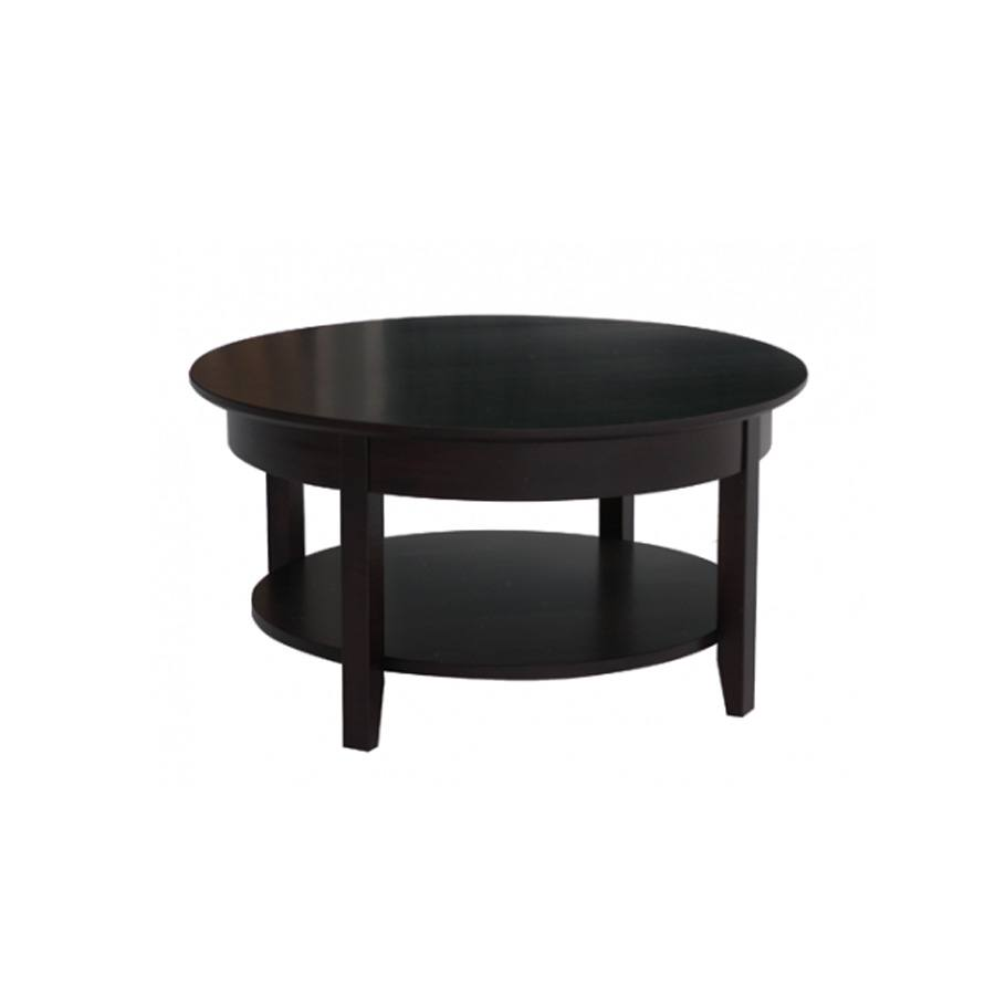 Solid Wood Demilune Elliptical Round Coffee Table-03