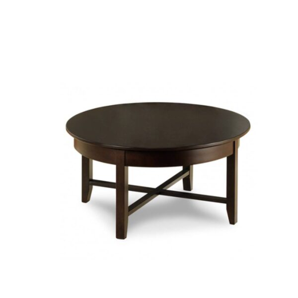 Solid Wood Demilune Elliptical Round Coffee Table-02