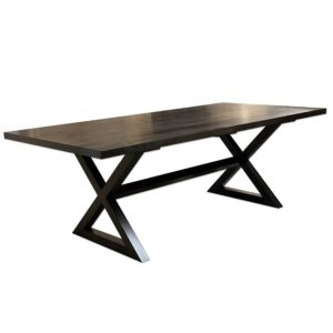 Solid wood modern x-base table-hadncrafted-01