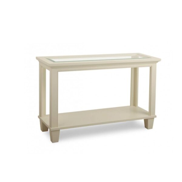 Solid wood glass top georgetown sofa table01