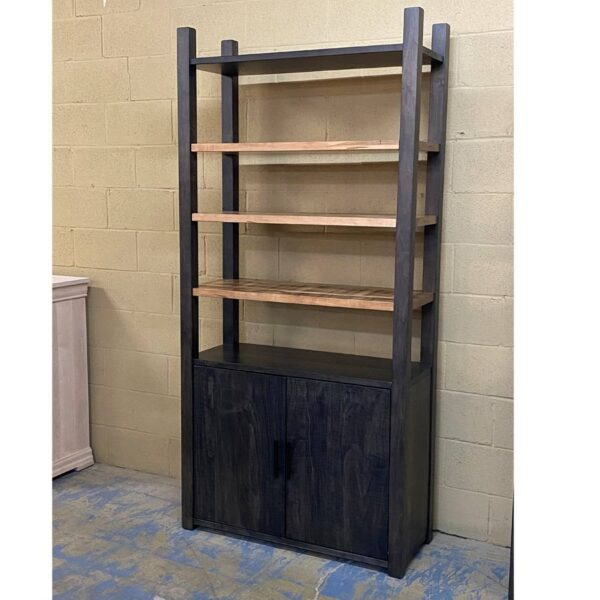 Industrial solid wood bookcase-handcrafted-02
