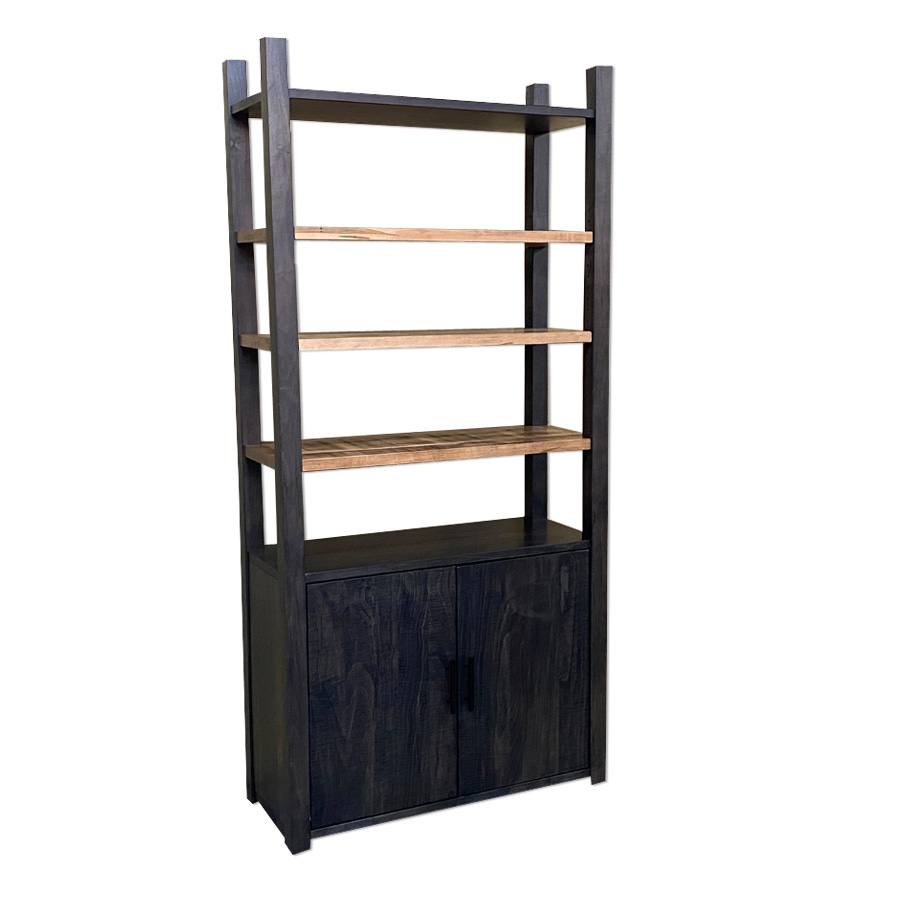 Industrial solid wood bookcase-handcrafted-01